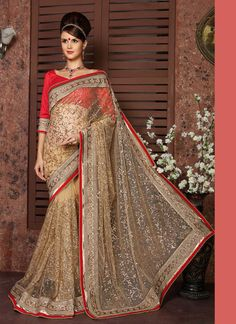 Royal Cream Colour Net Lace Border Work Saree  https://www.gnoutlet.com/collections/sarees/products/integral-georgette-colour-yellow-printed-saree