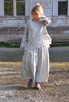 Petal Top in linen and silk £195 over Button Skirt in linen £225.