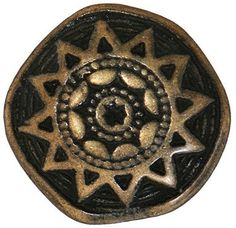 """Amazon.com: Fancy & Decorative {22mm w/ 3mm Back Hole} 12 Pack of Large Size Round """"Popper Shank"""" Sewing & Craft Buttons Made of Genuine Metal w/ Metallic Antique Symbolic Greek Sun Star Design {Gold & Black}"""