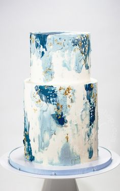 36 Fall Wedding Cakes That WOW ❤ fall wedding cakes white decorated with pearls and hand painted yellow blue abstract soulcakeshop Pretty Cakes, Cute Cakes, Beautiful Cakes, Amazing Cakes, Fall Wedding Cakes, White Wedding Cakes, Wedding Cake Designs, Spring Wedding, Purple Wedding