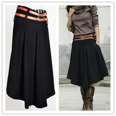 Winter Knee-length Wool Skirt Black,Gray Plus Size Expansion Skirts Women free shipping $28.00