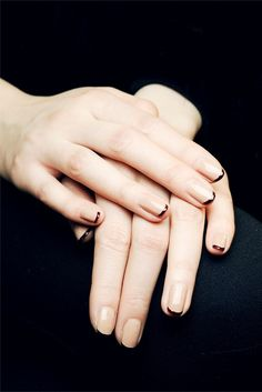 Black Tip French Manicure, or could use gold nail ribbon...