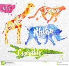 painted-animals-crocodile-silhouettes-animal-giraffe-rhino-cheetah-drawing-color-paint-background-watercolor-paper-61161921.jpg (1300×1237)