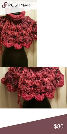 Knit Crochet Poncho capelet shawl shoulder hug Very warn and stylish. Handmade crochet closed  shawl with turtleneck in pink and purple color.  Made with a thick chunky cozy yarn of 88% of acrylic yarn and 12% polyester. Dry clean only. One size fits most.  Each of my pieces are unique and every design is different. Accessories Scarves & Wraps