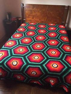 passo a passo de crochê para colchas com hexágono coloridos de lã - Pesquisa Google