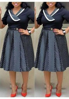 DaysCloth Black-White Polka Dot Pleated Formal Plus Size Short Sleeve Party Banquet Midi Dress - Plus Size Midi Dresses - Ideas of Plus Size Midi Dresses Short African Dresses, Latest African Fashion Dresses, African Print Dresses, African Print Fashion, Women's Fashion Dresses, Plus Size Black Dresses, Shweshwe Dresses, Elegant Midi Dresses, African Traditional Dresses