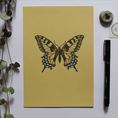This print is perfect for adding a splash of colour to your room. You can also enjoy the delicate details on the butterfly wings - what a beautiful little creature! #print #design #drawing Butterfly Print, Butterfly Wings, Color Splash, Print Design, Delicate, Creatures, Colour, Drawings, Frame