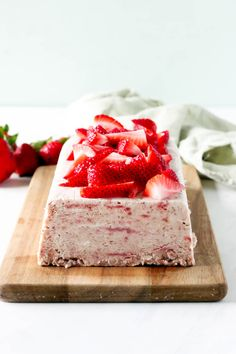 Roasted Strawberry and Rhubarb Semifreddo | Today We Bake