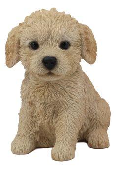 Ebros Realistic Adorable Sitting Labradoodle Puppy Statue 6.5