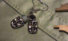 Spooky Mars Face Earrings Silver White Opaque by CherylsGoodStuff, $5.00