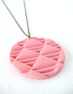 Polymer Clay Necklace Hand Stamped Geometric