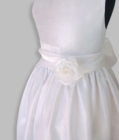 Girls tween white satin formal dress, communion, special occasion. www.poshtots.com.au Satin Formal Dress, Formal Dresses, Floor Length Gown, White Wedding Dresses, White Satin, Fitted Bodice, Communion, Special Occasion Dresses, Tween