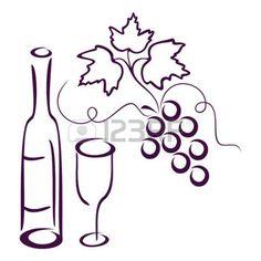 feuille de vignes: Bouteille de vin, de verre et de cluster de vigne sur un fond blanc.