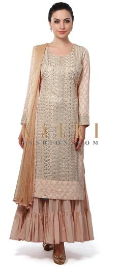 Buy Online from the link below. We ship worldwide (Free Shipping over US$100). Product SKU - 313662. Product Price - $229.00. Product link - http://www.kalkifashion.com/cream-anarkali-suit-enhanced-in-zari-and-sequin-embroidery-only-on-kalki.html