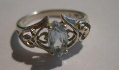 Vintage Avon Sterling Silver Ring with Aquamarine Gem Stone Ladies Size 6 1/2. $15.00, via Etsy.