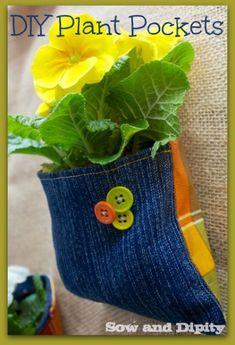 Recycled Denim Plant Pocket (2)