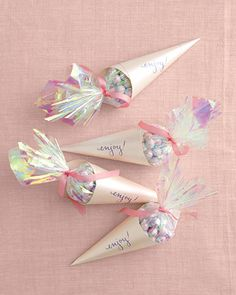 Perfect Wedding Color Palette: Opalescent  Wedding Favor Candy Cones    Read more at Marthastewartweddings.com: Perfect Color Palettes for Weddings – Martha Stewart Weddings