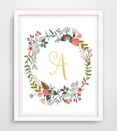 Monogram Print Gold Foil Printable Art Initial by PaperStormPrints Typography Prints, Lettering, Corona Floral, Affordable Wall Art, Gold Foil Print, Nursery Art, Printable Wall Art, Decoration, Giclee Print