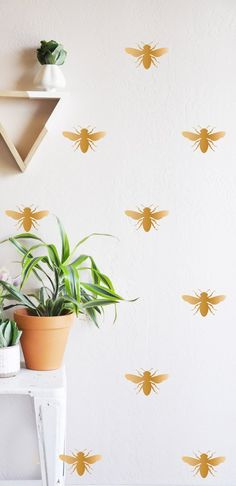 HONEY BEE - Wall decal – The Lovely Wall Company. Maybe try to make a stencil. Wall Stickers Room, Yellow Wall Stickers, Reusable Wall Stickers, Bee Art, Save The Bees, Bees Knees, Of Wallpaper, Renters Wallpaper, Textured Walls