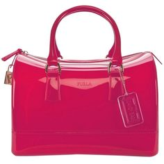 Pre-owned Furla Candy Medium Dragon Fruit Pink Satchel ($199) ❤ liked on Polyvore featuring bags, handbags, pink, pre owned purses, pink handbags, satchel bags, pink satchel and pink satchel purse