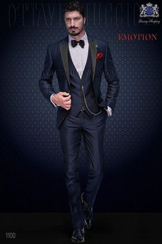 Italian blue fashion vested suit 1100 Ottavio Nuccio Gala