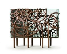 Designed by Ferruccio Laviani and manufactured by Italian company Fratelli Boffi, Gothik-A Cabinet envelops glass case with decorative wooden design. Glass Sideboard, Sideboard Modern, Modern Console Tables, Furniture Styles, New Furniture, Luxury Furniture, Furniture Design, Furniture Ideas, Boffi