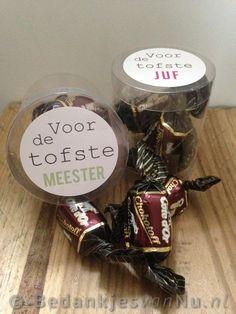 Voor de tofste juf en/of meester via www.BedankjesvanNu.nl