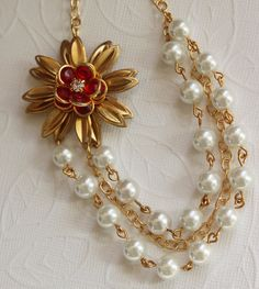 Red Rose Necklace Pearl Jewelry Swarovski Pearls by madebymoe, $58.00