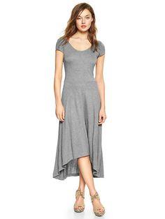 Gap Heather Gray Ballet Back Knit High-Low Knit Midi Dress L NEW #GAP #midi #Maxi #dress
