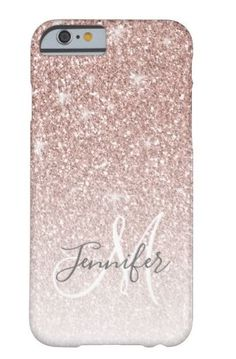 Girly Rose Gold Glitter Blush Monogram Name Barely There iPhone 6 Case Custom Brandable USA Electronics Gifts Girly Phone Cases, Iphone 6 Cases, Iphone 8, Pink Iphone, Galaxy S3, Cute Wallpaper For Phone, Rose Gold Glitter, Monogram Gifts, Apple Iphone 6
