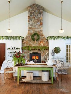 A rustic-looking home calls for outdoorsy Christmas decor. Drape greenery (real or faux) along ledges for a subtle but festive look that you won't want to take down./