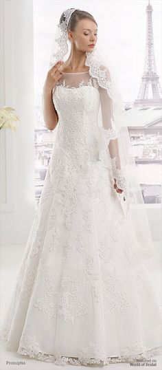 A-line Wedding Dresses : Organza wedding dress with lace application slightly spangled transparent squar
