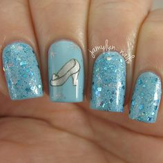 Blue Shimmer Cinderella Inspired Nails.