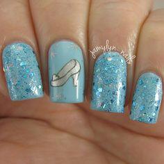 Blue Shimmer Cinderella Inspired Nails.