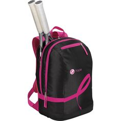 WILSON Hope Tennis Backpack Black and Pink ($45) ❤ liked on Polyvore featuring bags, backpacks, backpack bags, day pack backpack, padded bag, strap backpack and knapsack bag