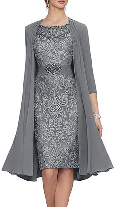 BridalAffair Chiffon Mother of The Bride Dresses Tea Length Two Pieces Formal Dress with Jacket Short Mothers Dress, Mother Of The Bride Dresses Long, Mother Of Bride Outfits, Mothers Dresses, Two Piece Formal Dresses, Two Piece Dress, Formal Evening Dresses, Evening Gowns, Tea Length Dresses