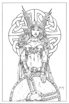 Shield Maiden 2 by MitchFoust on DeviantArt Symbol Tattoos, Body Art Tattoos, Vikings Tatoo, Adult Coloring Pages, Coloring Books, Colouring, Norse Tattoo, Bild Tattoos, Viking Art