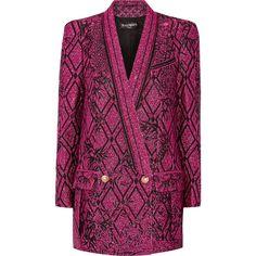 Balmain Metallic jacquard blazer found on Polyvore featuring outerwear, jackets, blazers, blazer, coats, balmain, pink, fuchsia blazer, balmain jacket and jacquard jacket