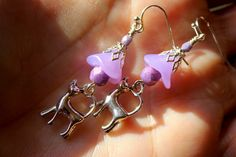 Cat Earrings Lavender Flowers Czech Glass Beads by CreativeCutes