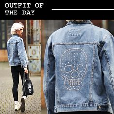 Little bit of inspiration for outfit of the day. Rocking a Swarovski skull denim jacket #ootd #disegnomio #dmio #casualoutfits #outfitinspiration #stylist #styleinspo #styleoftheday #styleinspiration #swarovski