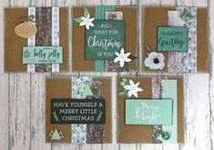 Quick and Easy Set of 10 Mint Wishes Christmas Cards with Instructions Merry Little Christmas, Christmas Greetings, Pocket Scrapbooking, Christmas Cards, Christmas Tree, Birthday Cards, Card Making, Mint, Diy Crafts