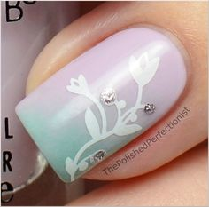 Pastel Diagonal Gradient Nails with Flower Accent (close-up)
