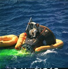 1966 - Gemini 11 flight splashes down in the Pacific. CDR Pete Conrad hops out of his spacecraft