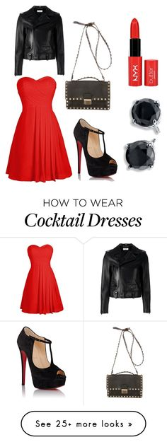 """""""Black & Red Xmas Outfit"""" by the-redneck-girl on Polyvore featuring Christian Louboutin, Yves Saint Laurent, Valentino and NYX"""