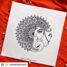 Easy Mandala Drawing, Mandala Art Lesson, Mandala Artwork, Doodle Art Drawing, Mandala Painting, Mandala Sketch, Watercolor Mandala, Ganesha Art, Ganesha Drawing