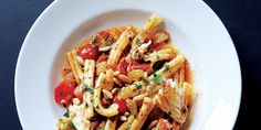 Bursting with sweet cherry tomatoes and golden raisins, this simple seafood pasta comes together in just 30 minutes.
