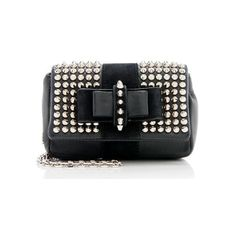 Pre-Owned Christian Louboutin Sweet Charity Small Spiked Crossbody Bag (1 590 BGN) ❤ liked on Polyvore featuring bags, handbags, shoulder bags, black, chain handle handbags, crossbody handbags, spike handbags, preowned handbags and christian louboutin handbags