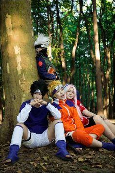 Naruto Team Kakashi Team 7 Uzumaki Naruto, Hatake Kakashi, Sasuke Uchiha, Sakura Haruno Cosplay,Costumes