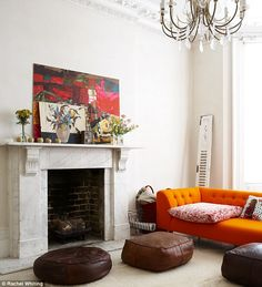The Orange lansdowne sofa featured in the Daily Mail.   http://www.rume.co.uk/furniture/sofas/lansdowne.html
