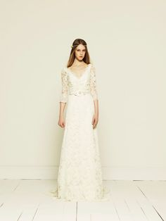French Corded Lace Long Sleeve Wedding Dress by Collette Dinnigan